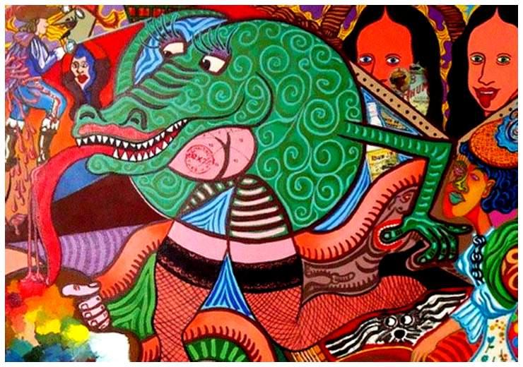 Gustave le crocodile g ant du nil d tail d 39 une peinture for Peinture crocodile
