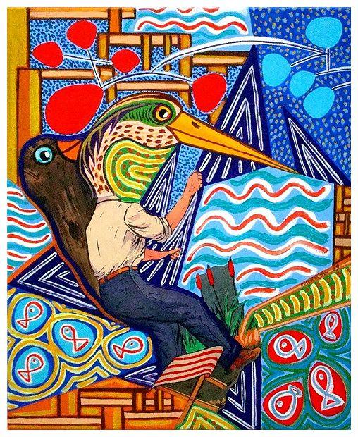 h ron h ron petit patapon tableau contemporain sur le th me du heron. Black Bedroom Furniture Sets. Home Design Ideas